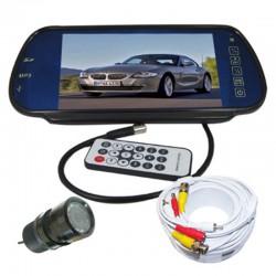 """Kit Retromarcia auto con monitor 7"""" nello specchio retrovisore e telecamera con 9 led 120° visuale"""