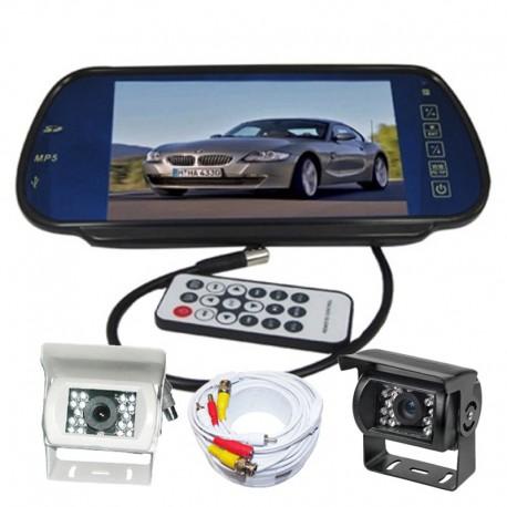 """Kit Retromarcia camper con monitor 7"""" nello specchio retrovisore e telecamera con 18 led 92° visuale"""