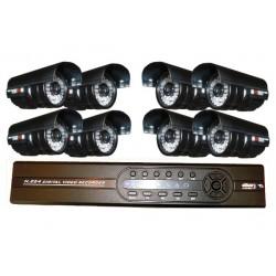 Kit per videosorveglianza con 8 telecamere CCD Sony e DVR 8 canali