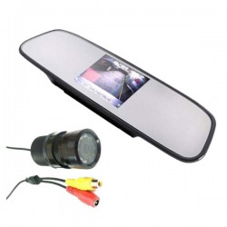 """Kit Retromarcia auto con monitor 4.3"""" nello specchio retrovisore e telecamera con 9 led 120° visuale"""