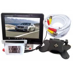 """Kit Retromarcia camper con monitor 7"""" e telecamera bianca con 18 led 92° visuale"""
