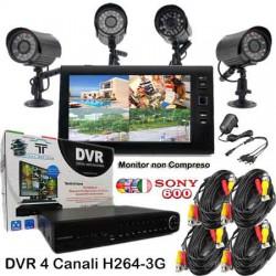 KIT DVR 4 CH + 4 SONY 600TVL + Prolunghe + Alimentatori HARD DISK OMAGGIO