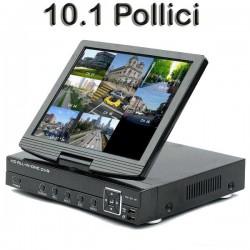 AHD DVR 04 Ch.Video, 02 Ch.Audio, Ibrido, Con Monitor 10.1 Pollici, Cloud, H264 RS485 Real Time 720P 960H