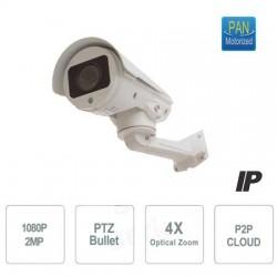 Telecamera Sony IP BULLET PTZ 1080P, Brandeggio e zoom 4X motorizzati, 4 Dot Led, P2P,  ONVIF, MOTION DETECT