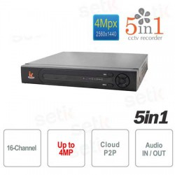 5 in 1 DVR ibrido 16 canali video fino a 4MPixel + 2 canali audio, 1080N, Cloud