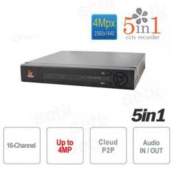 5 in 1 DVR ibrido 16 canali video fino a 4MPixel + 2 canali audio, 1080N, Cloud