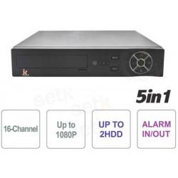 xMeye - DVR 5in1 16ch 1080N, 1080P FULL HD CLOUD, 2 HDD, ALLARME IN e OUT