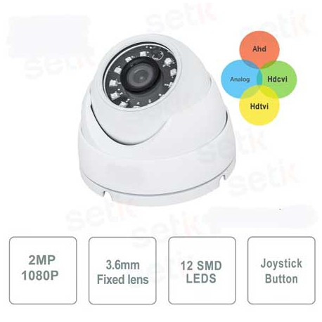 TELECAMERA DOME 4IN1, 1080P, FULL HD, ANALOGICO + AHD + TVI + CVI, 3.6mm, 12 Led SMD