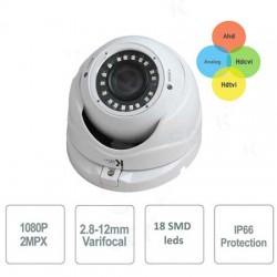 DOME IBRIDA 4IN1 ANALOGICA / AHD / HDCVI / HDTVI 1080P Varifocal 2.8-12mm 18 LED SMD