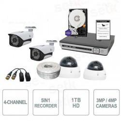 Kit videosorveglianza 4 canali AHD 4 MegaPixel COMPLETO