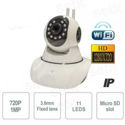 Telecamera WIFI IP HD wireless, motorizzata, registra su Micro SD, 11 Led, Onvif, Motion Detect