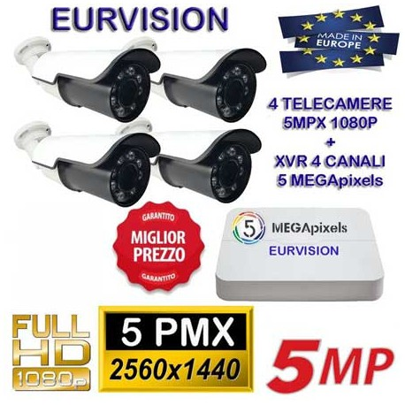KIT videovideosorveglianza con XVR 6-IN-1 5MPx e 4 telecamere 4-IN-1 da 5MPx