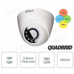 Telecamera DOME Dahua per interni 4in1, 720P, 1MPixel, 12 Led IR SMD