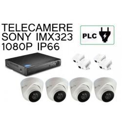 KIT 4 CANALI DOME 1080P PLC POWER LINE SU PRESA ELETTRICA