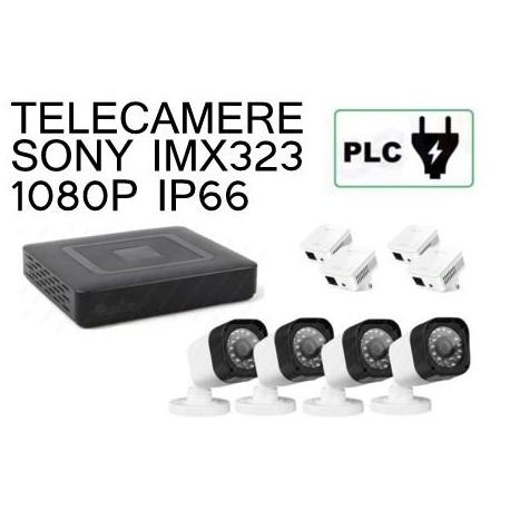 KIT 4 CANALI 1080P PLC POWER LINE SU PRESA ELETTRICA