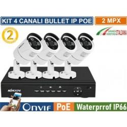 Kit videosorveglianza NVR 8 canali IP POE con 4 cam IP POE 2MPx 1080P Hard Disk OMAGGIO