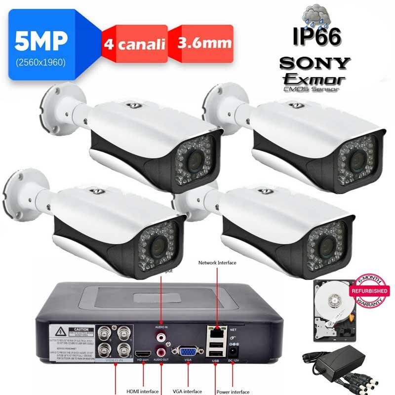 Kit DVR 5MPx con rilevamento viso + 5 telecamere 5mpx Sony + hard disk